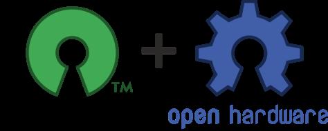 მარცხენა - ღია-წყაროს-მქონე პროგრამული უზრუნველყოფის ხატულა; მარჯვენა - ღია-წყაროს-მქონე ხელსაწყოების ხატულა