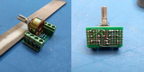 ორბილიკიანი პოტენციომეტრისგან და ორი რეზისტორისგან აწყობილი უმარტივესი აუდიო ხმის მომართველი.